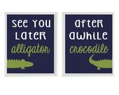 Alligator Nursery Wall Art Print Set - See You Later Alligator Quote Navy Blue Green Madras Gator - Preppy Baby Boy Room Toddler -