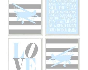 Airplane Nursery Art - Light Blue Gray Stripes Boy Room Aviation Flying - Boy Rules LOVE - Baby Boy Nursery Toddler Big Boy Room Wall Art
