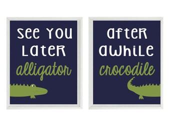 Alligator Nursery Wall Art Print Set - See You Later Alligator Quote Navy Blue Green Madras Gator - Preppy Baby Boy Room Toddler -