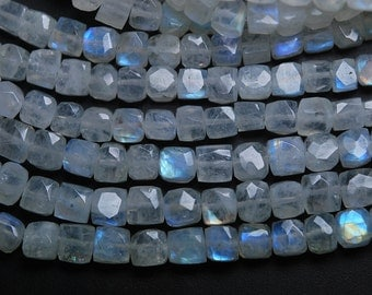 8 inch Strand,Super Finest,Super Rare,BLUE Flashy RAINBOW Moonstone Faceted 3D Box Shape Briolettes,7-6.5mm Size,