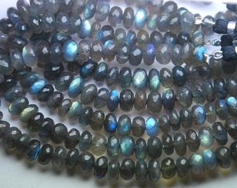 8 Inches Super Finest Natural BLUE FLASHY LABRADORITE Faceted Rondelles Size,10-11mm aprx