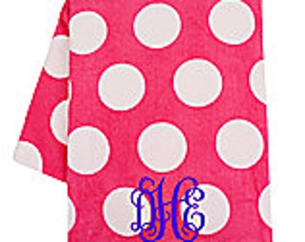 Personalized Hot Pink with White Dots Beach Towel