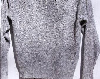 Vintage silk, angora pearl collar holiday sweater S