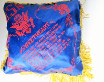 A Satin Pillow Slip From the 40s - WWII Memorabilia - Navy Blue, Deep Red Felted Lettering With Gold Fringe - Clean and in Great Condition
