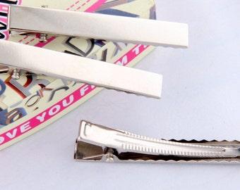 Wholesale Hair clip,24 PCS silver plated metal hair clip Large alligator clip accessories 10cm