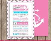 Anchors Away! Girl Nautical Baby Shower Invitations