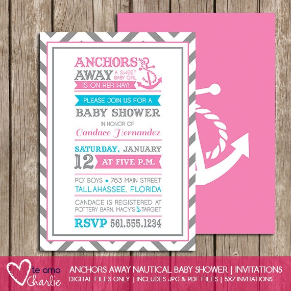 anchors away girl nautical baby shower by palmbeachprints on etsy