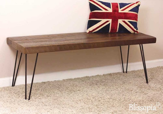 hairpin leg bench reclaimed wood bench dining bench entry. Black Bedroom Furniture Sets. Home Design Ideas