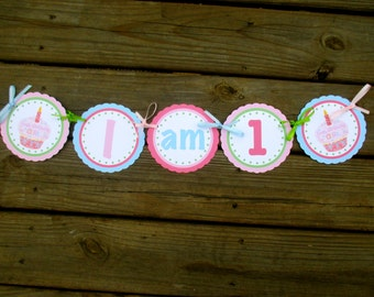 First Birthday Girl I am1 High Chair Banner-pink cupcake and green polka dots