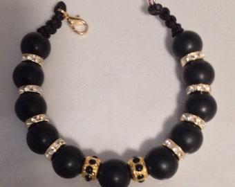 Black onyx rhinestone bracelet