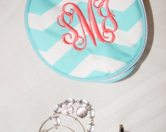 Monogrammed Travel Jewelry Case, Personalized Jewelry bag, Travel Essentials, Jewelry/Cosmetic Storage, Jewelry Box