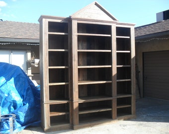 Large bookcase custom made in the USA from reclaime wood
