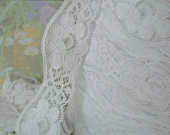 3yds White Elastic Lace Fabric Trim Floral Stretch Lace Trim Scolloped edge 1 1/4 inch Wedding Headband Single Edge Elastic by the yard cute