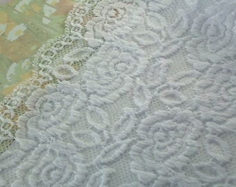 Lace Stretch Fabric White 5 inches wide Stretch Galloon Lace Diy Wedding Lingerie Elastic lace by the yard