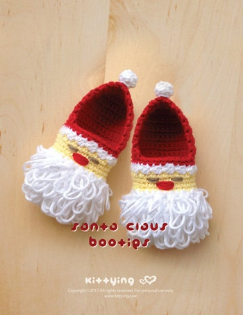 Crochet Baby Santa Booties Pattern : Crochet Pattern Santa Claus Baby Booties Crochet Pattern for