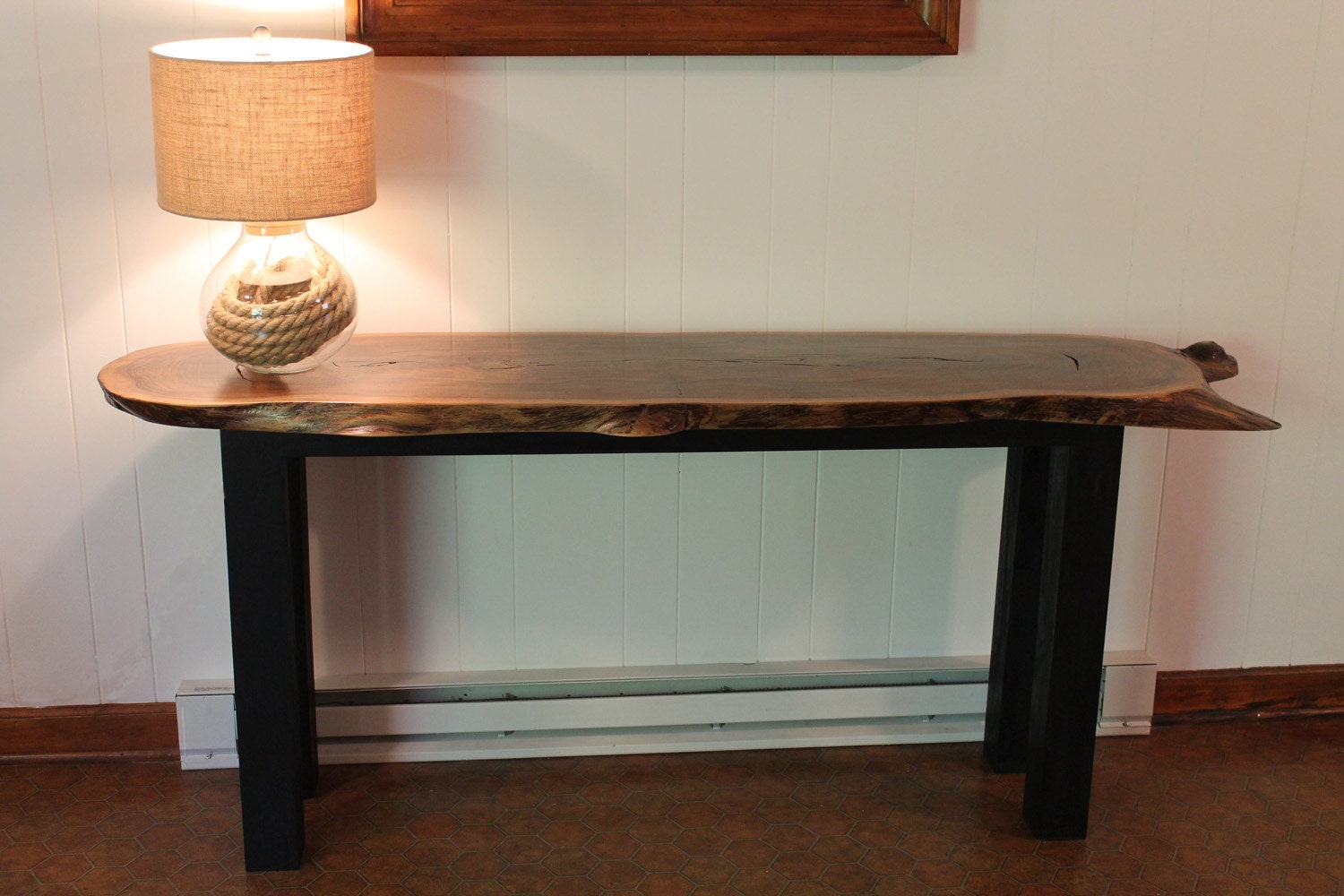 Live Edge Foyer Table : Live edge walnut table sofa entryway hallway by