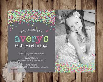 Confetti Photo birthday invitation, bright birthday invite, girls birthday, tween birthday, 21st birthday, party invitation, photo invite