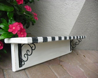 Hand-Painted Solid Wood Black and White Wall Shelf