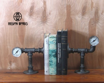 Original Handmade Industrial Machine Age Steampunk Pipe and Gauge Bookends Model #23A