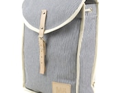 Blue Stripe Heap Backpack, Retro, Vintage Inspired, Blue Stripes, Canvas and Leather Bag, Women's Backpack