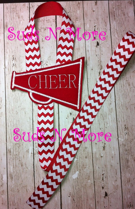 Cheer Megaphone Embroidered Flower Bow or Clip Holder by