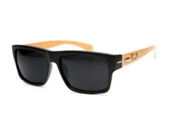 Hacienda Black Bamboo Sunglasses - Wood Sunglasses - Personalized Sunglasses - Custom Sunglasses - Groomsmen Gift - Personalized Gift