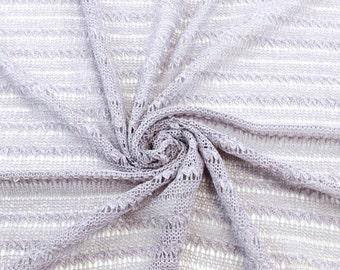 Mauve Stripe Breeze Open Knit Sweater Knit Fabric - 1 Yard Style 6330