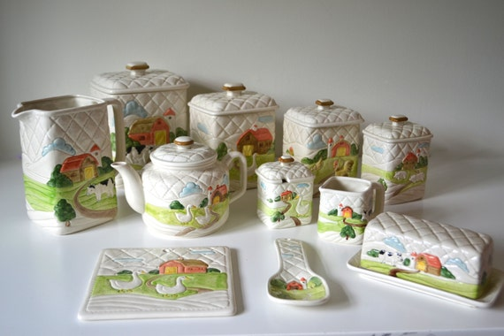 vintage ceramic kitchen set ceramic canisters by