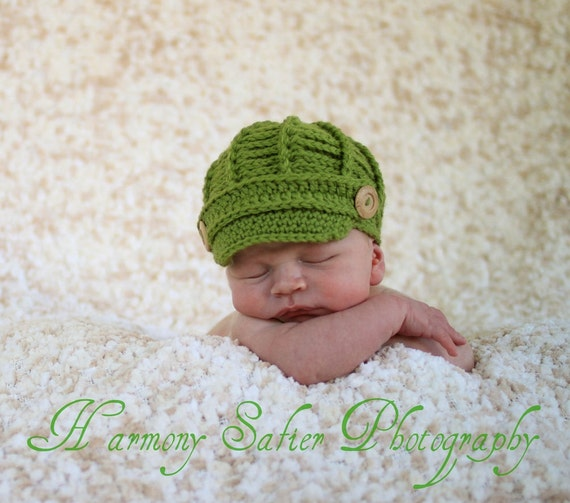PDF Newsboy Hat PATTERN - Baby Newsboy Hat - Crochet ...