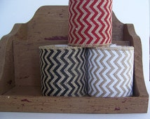 "Sale****Burlap Ribbon, Chevron Christmas Ribbon,Rustic Country Christmas Decor,4"" x 5 yards, Wired Ribbon"