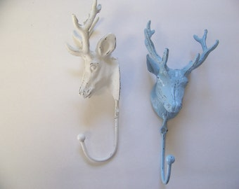 Deer Head Hook, Shabby Chic Decor, Bathroom Decor, Wall Decor, Wall Fixture, Key Hanger