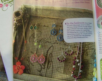 """Jewelry Holder, Featured in Country Woman Magazine, Rustic Frame, Printed Linen Material with Rosettes-10""""x20"""""""