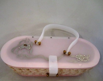 Vintage Pink Hand Bag with White Lucite Top, Clear Lucite Handle, Hand Painted Genie and Magic Lamp with Rhinestone Detail, Suki, ca 1950s