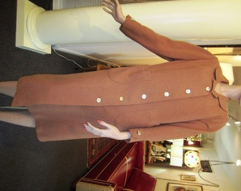 Vintage Russet Nubby Wool Coat, Bardley for Country and Town, ca 1940s