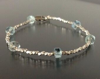 Aquamarine & Sterling Silver Bracelet