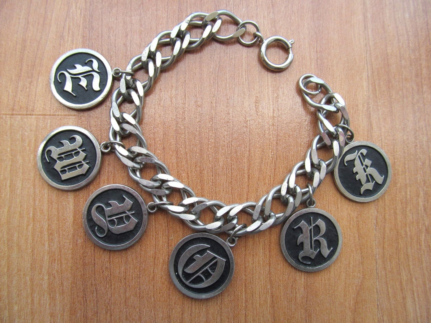 vintage initial charm bracelet in text
