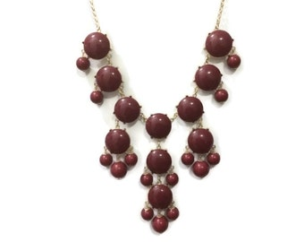 Dark Red Bubble Necklace, Maroon Statement Necklace, Garnet, Chic, College, Fall, Fashion Necklaces, Gift, Love,  Urban,  Gold,  Casading
