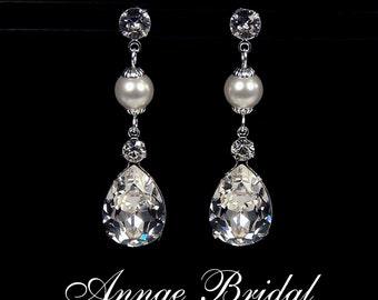 "Crystal & pearl teardrop earrings, Bridal, wedding, Swarovski, clear, silver, ""Milan by Moonlight"" earrings"