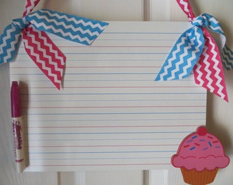 CUPCAKE..Dry Erase Board for Kids..Chevron..Great Gift