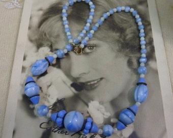 Art Deco Antique Blue Art Glass Beads Necklace