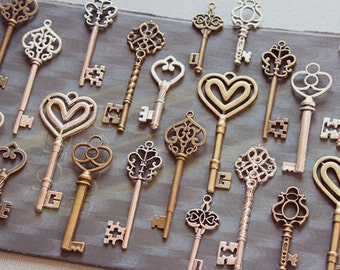 80 pcs Assorted mixed antiqued bronze, antique silver skeleton Key Charms