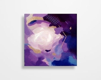 Abstract painting, abstract art, Modern painting, Purple and blue painting, Original abstract wall art on 8x8 inch canvas by Magier