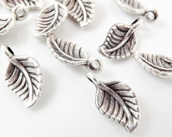 10 Mini Leaf Charms - Matte Silver Plated