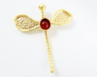 Large Dragonfly Pendant with Pompeian Red  Glass Accent - 22k Matte Gold Plated - 1pc