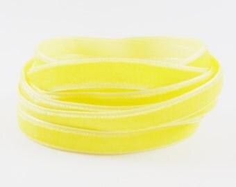 3 Meters of 10mm Lemon Yellow Velvet Ribbon - 3.28 Yards - Made in Turkey