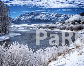Fine Art Print of Frosty Winter Day on the Salmon River with the Sawtooth Range - Idaho, USA