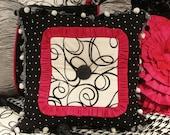 18 x 18 Black/ White Polka Dot Trim/Pink Ruffle/Black/White Swirl Center/Black Button Center Pillow
