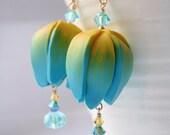 Spring Tulip Earrings, handmade polymer clay earrings, colourful earrings, spring earrings, flower earrings, summer earrings; SRA