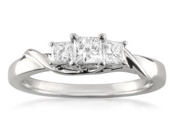 14k White Gold Three-Stone Princess-cut Diamond Engagement Ring (1/2 cttw, H-I, I1-I2)