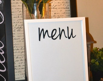 Dry Erase Menu Board Dry Erase Menu Planner  Wall Art  weekly meal planner menu board meal planning board dry erase menu board menu planning